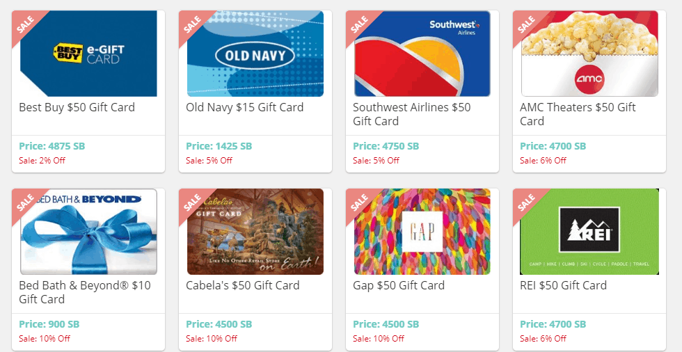 screenshot of discounted gift cards for online shopping