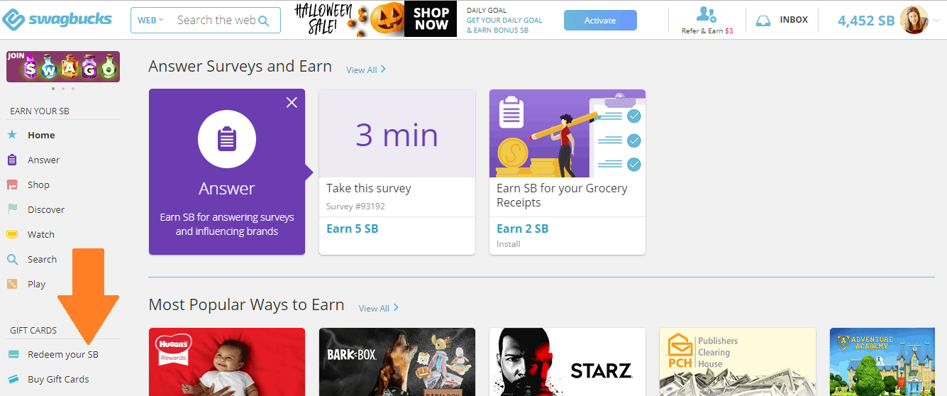 screenshot of how to redeem swagbucks for gift cards to online shop