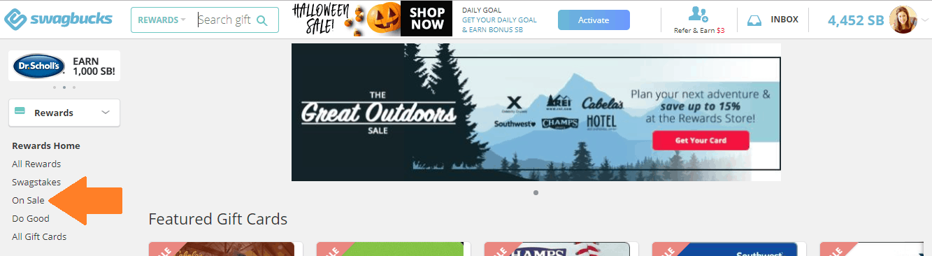 screenshot of where to click on Swagbucks to get discounted gift cards