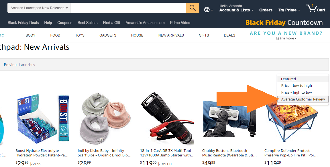 screenshot of Amazon launchpad for possible test products for amazon
