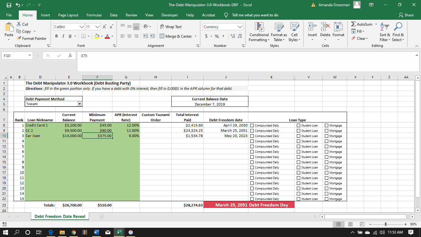 screenshot of the Debt busting debt free challenge free debt calculator excel sheet