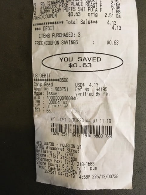 screenshot of receipt showing I saved $0.63, which I'll now use to put into savings