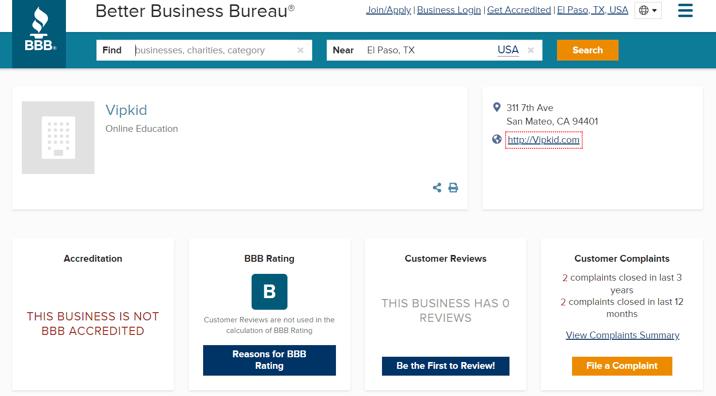 "screenshot of Better Business Rating's VIPKids reviews rating, showing ""B"""