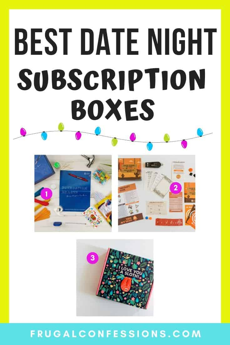 three screenshots of three different date night subscription boxes, and a visual of Christmas lights on pin