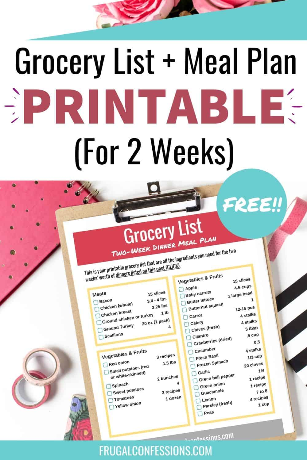 grocery list two week printable on desk backdrop, flatlay with clipboard