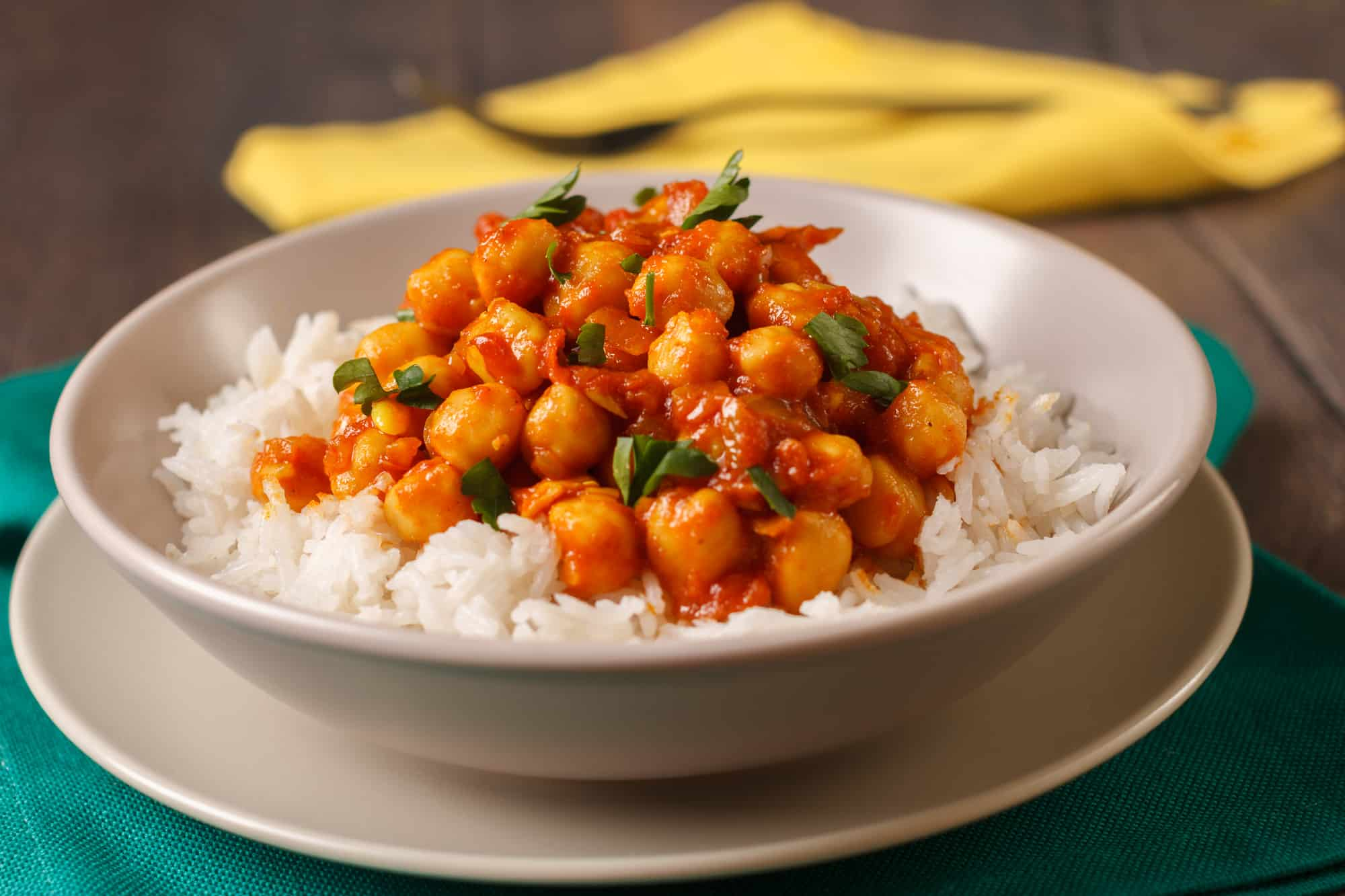 screenshot of non perishable dinner recipes - chickpea curry on rice