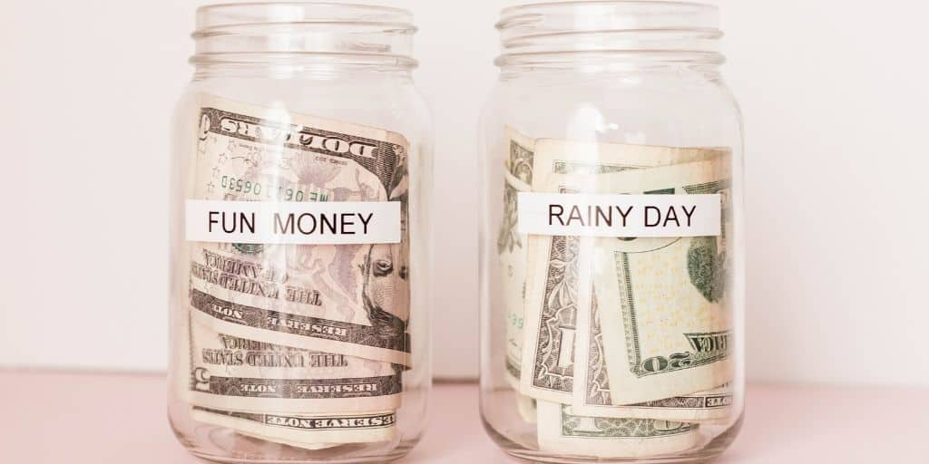screenshot of a rainy day emergency fund jar of money