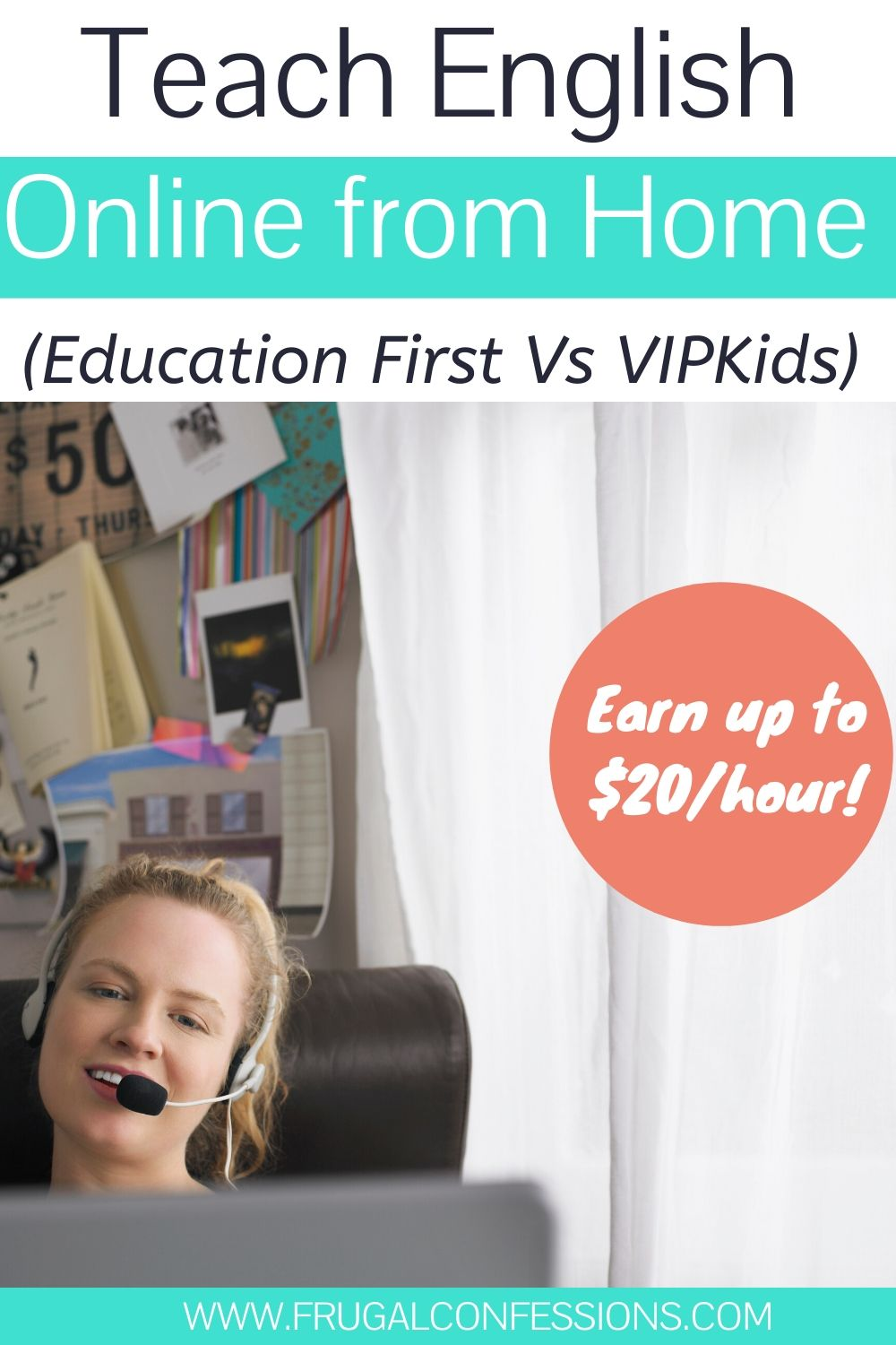 "woman with headset at home office desk teaching english online, text overlay ""teach english online from home education first vs VIPKids)"