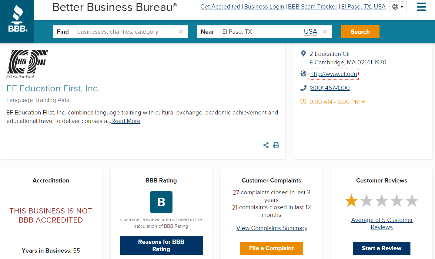 screenshot of Education First's B rating on the Better Business Bureau's website