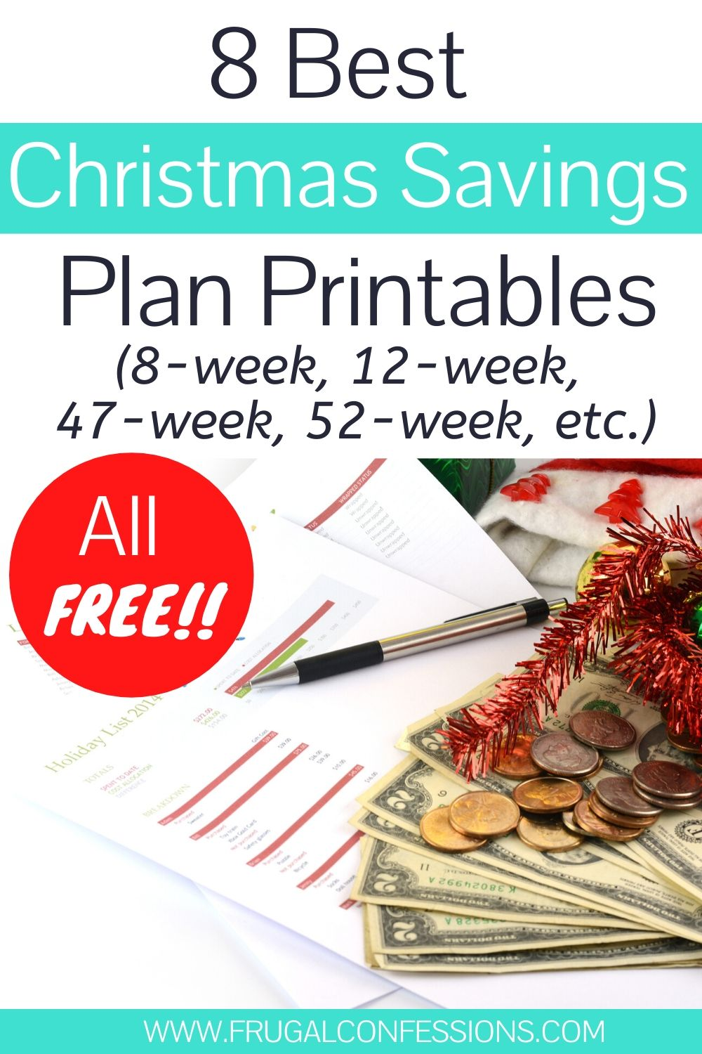 pen, savings plan printable, holly, and money on desk, text overlay