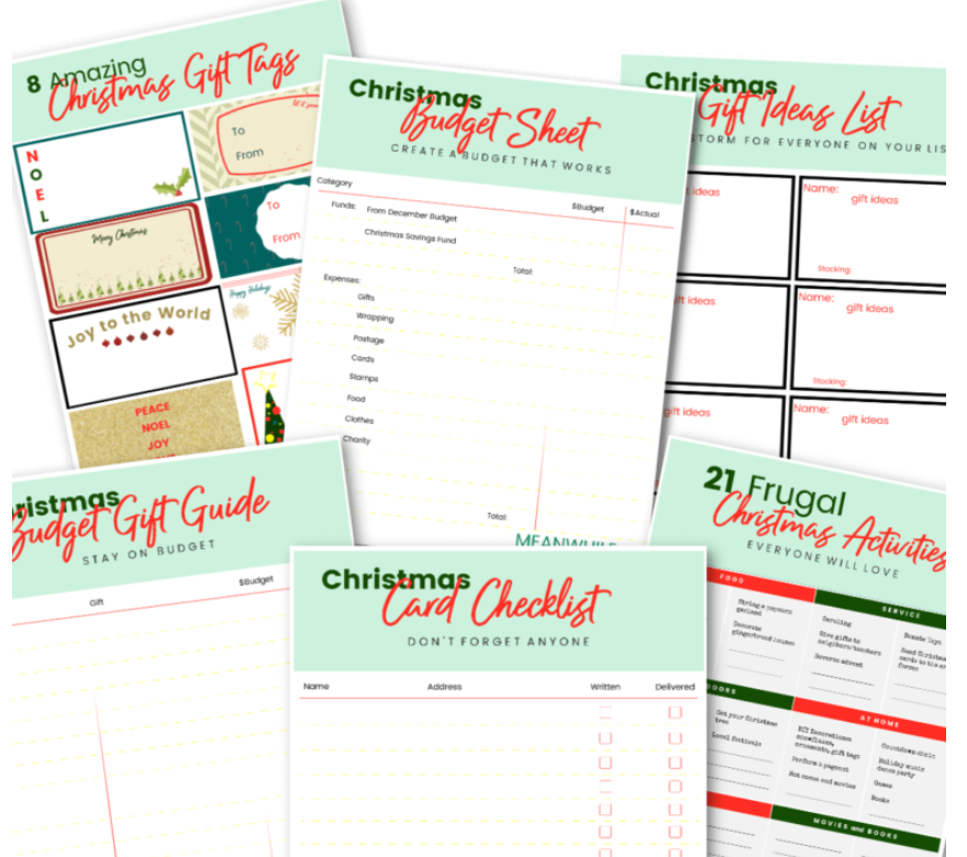 screenshot of Christmas planner set from Meanwhile at Naptime