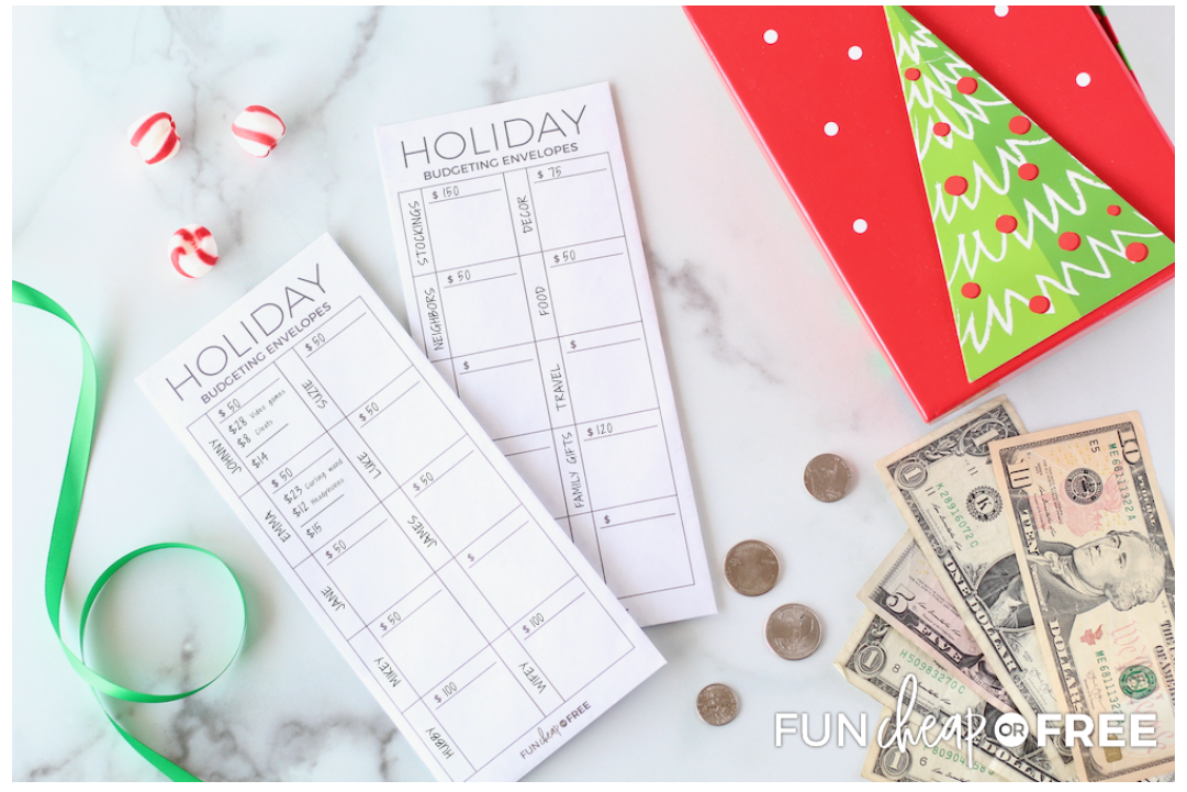 screenshot of holiday budgeting cash envelope printables from fun cheap or free