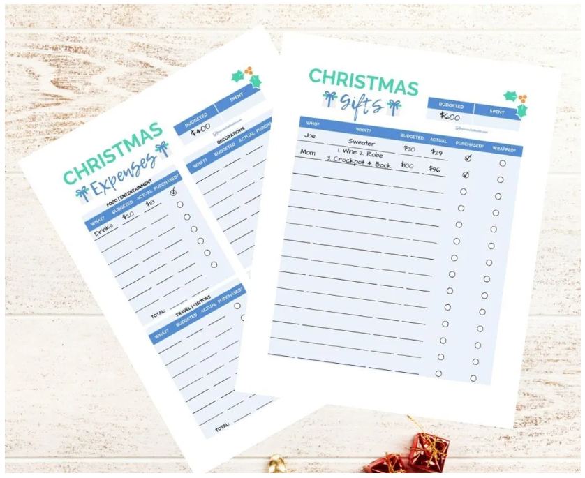 screenshot of free Christmas budget printables from Pennies to Wealth