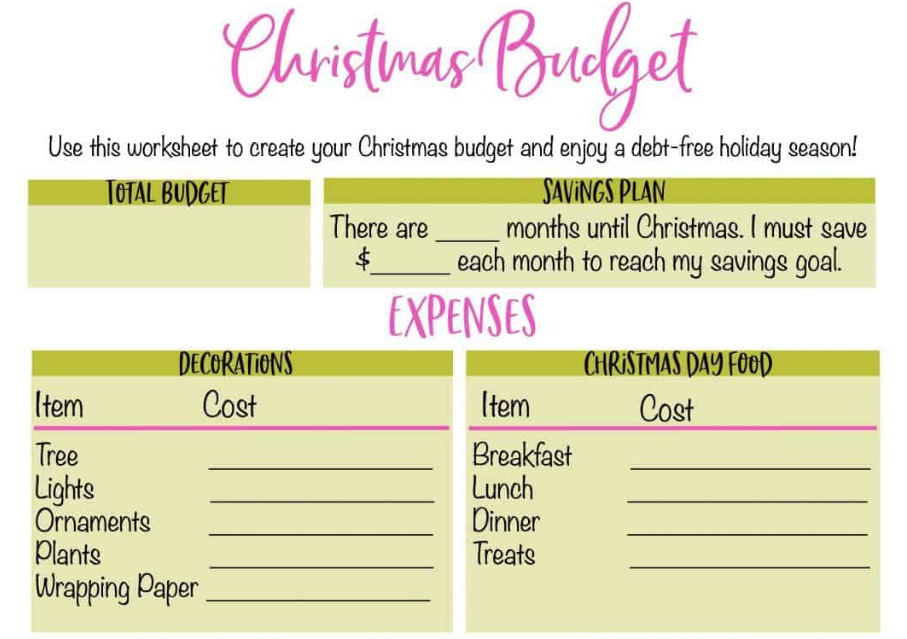 screenshot of Christmas budget printable from lwvogue