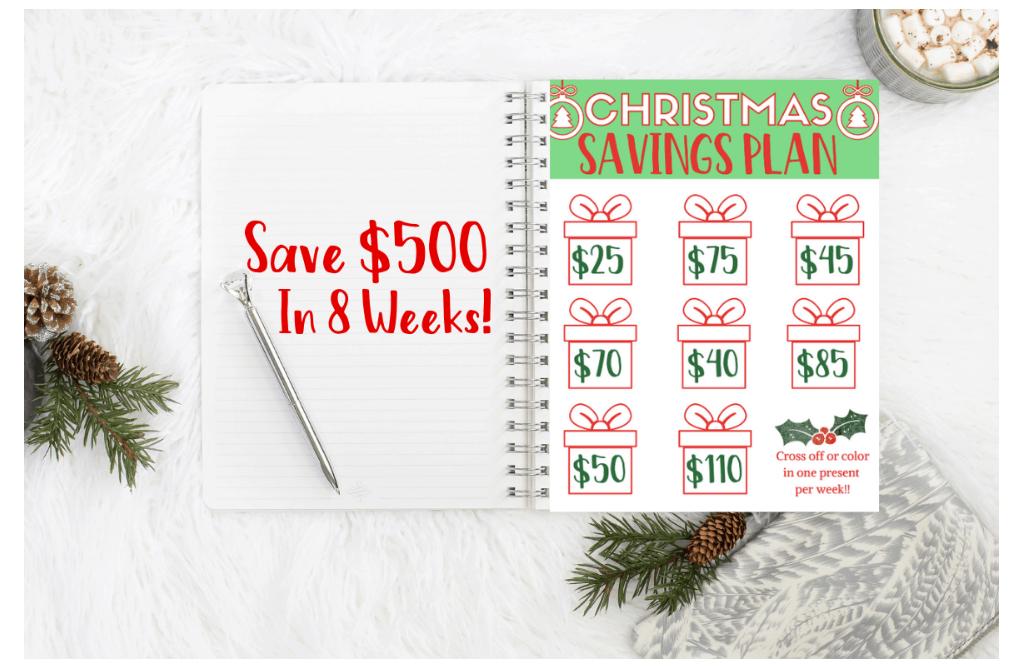 screenshot of 8 week Christmas savings plan printable