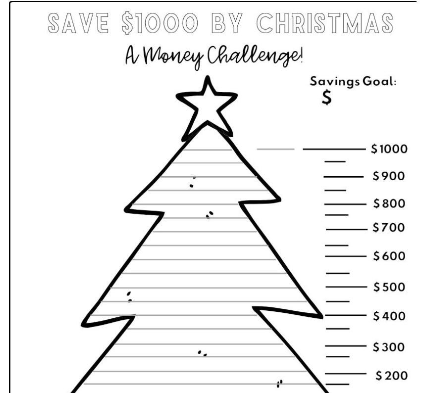 screenshot of 20 week Christmas savings plan