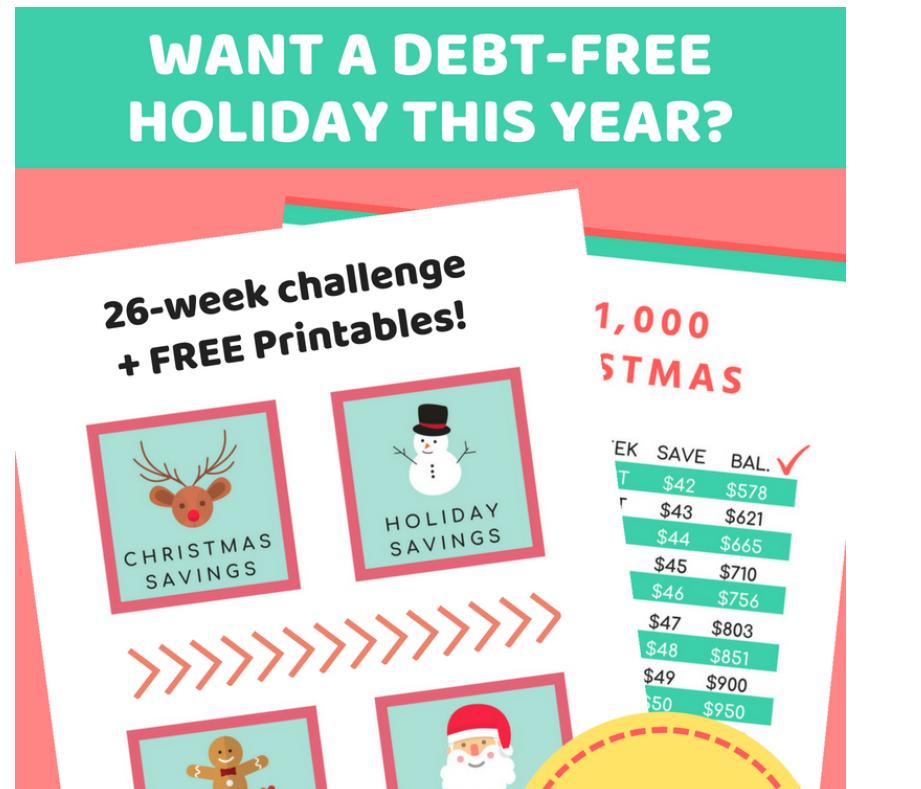 screenshot of 26-week christmas savings plan challenge