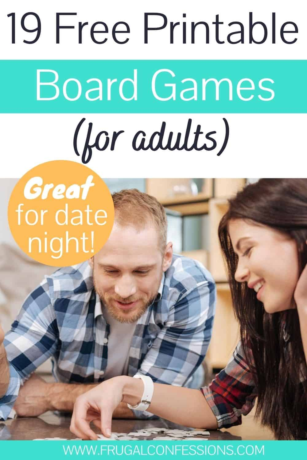 couple having fun playing free printable board games for adults on dining room table