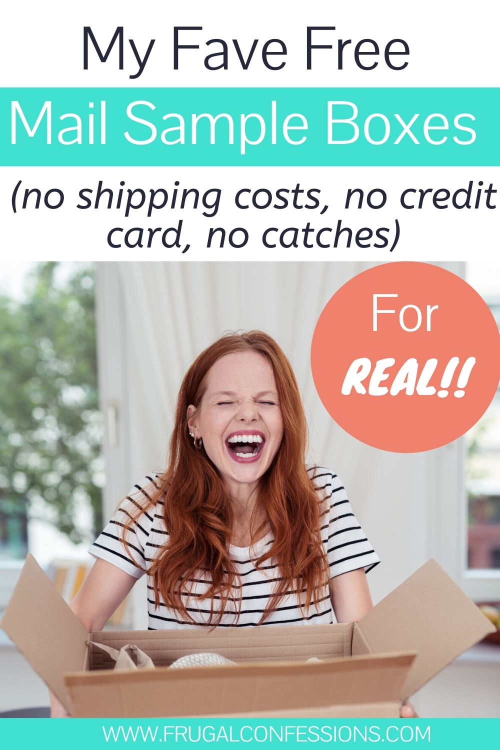 "red-headed woman holding a free sample box, smiling, text overlay, ""my fave free mail sample boxes, no shipping costs, no credit card, no catches"""