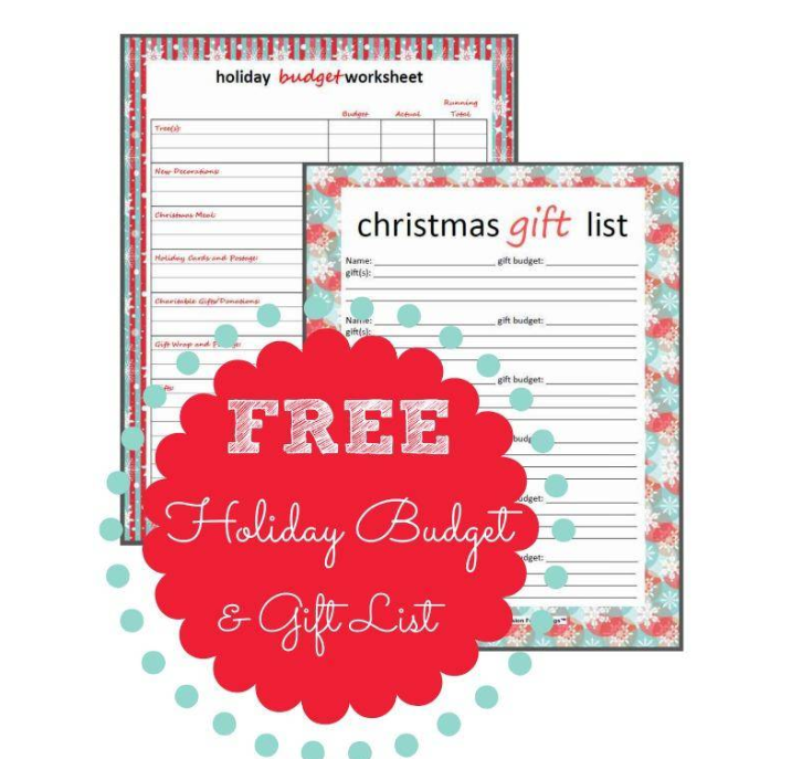 screenshot of holiday gifts budget printable from passion for savings
