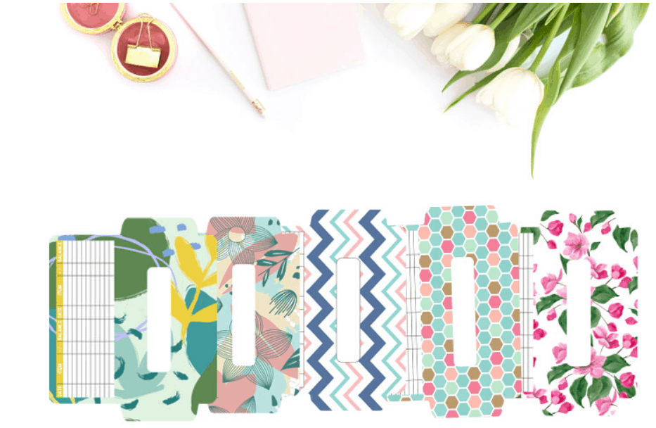 five different patterned cash envelopes on white overlay (pink, green, blue, etc.)