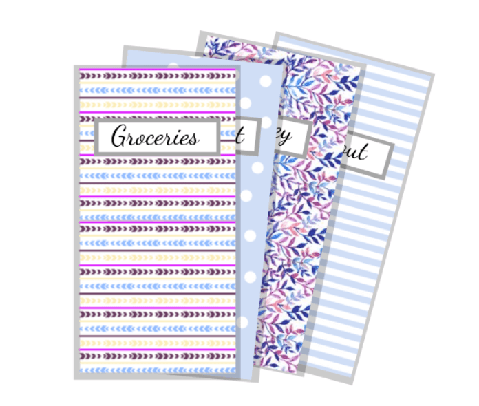 vertical cash envelopes with various patterns in blues and purples