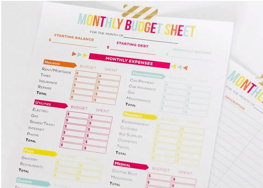 screenshot of printable crush's budget sheets - so cute