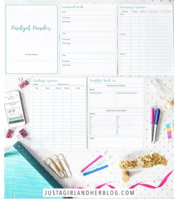 screenshot of just a girl and her blog's cute budget planner