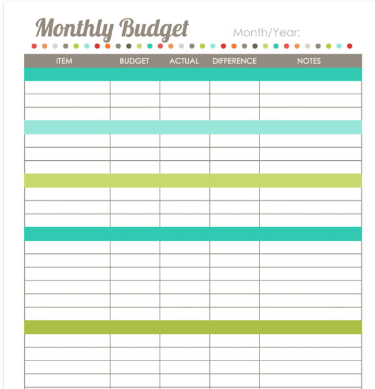 screenshot of Harmonized House Project cute budget printable