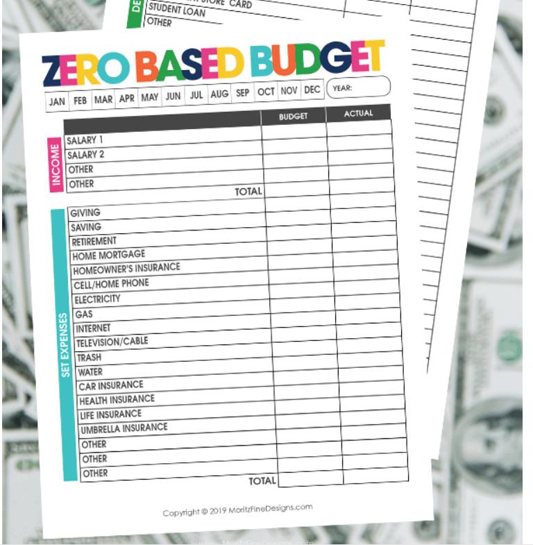 screenshot of moritz fine design's cute zero-based budget worksheet