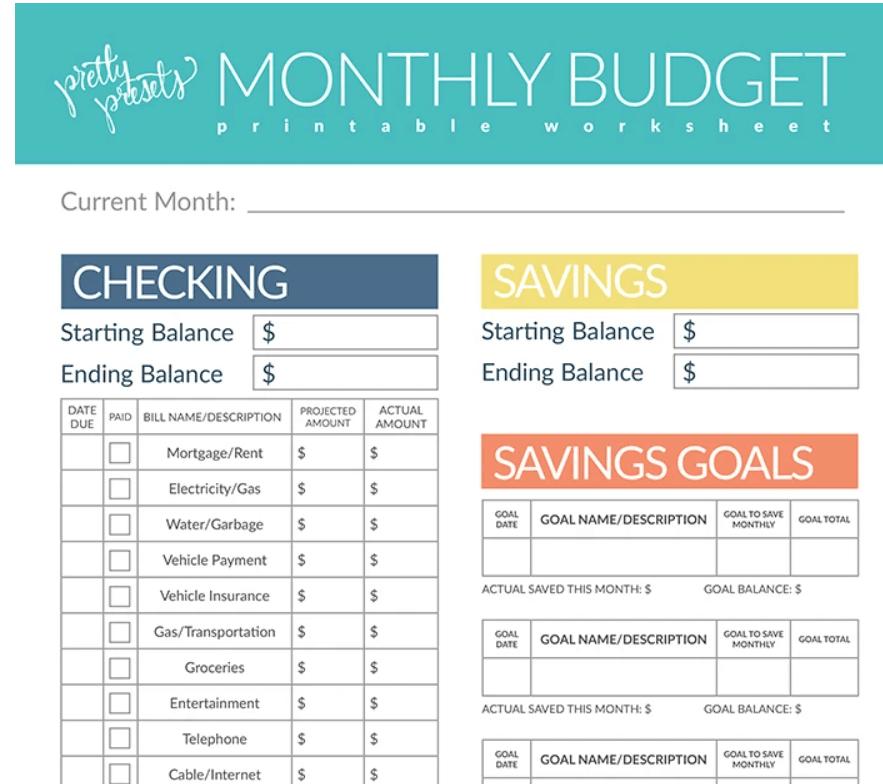 screenshot of light room preset's cute budget worksheet