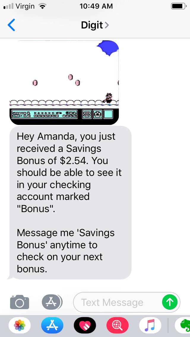 screenshot of digit savings app showing a bonus of $2.54 earned