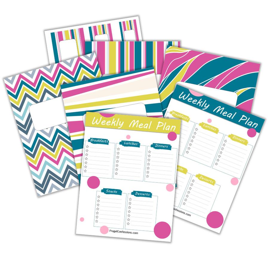 screenshot of free DIY recipe binder printables plus one-sheet weekly meal plan