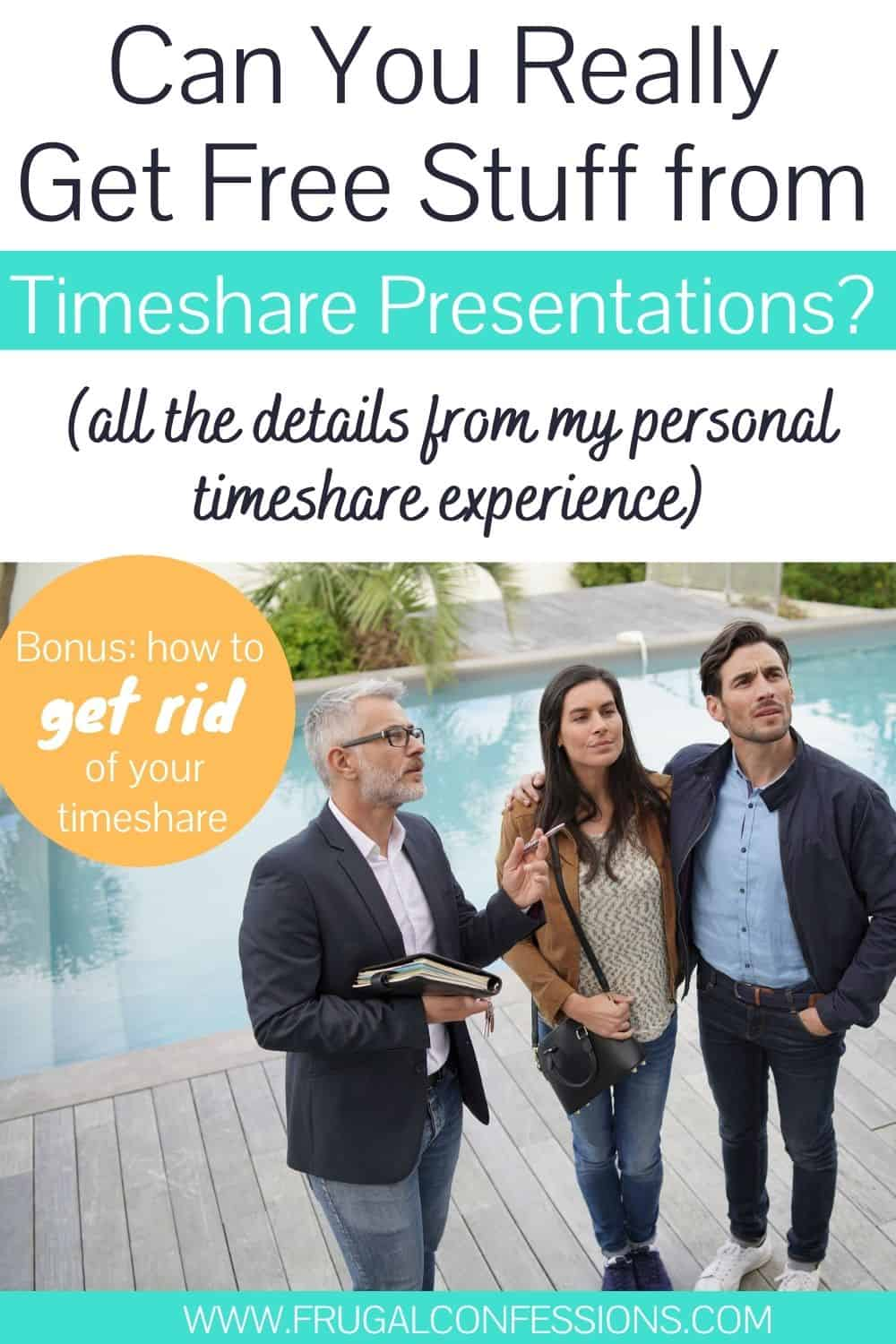 "timeshare salesman giving a timeshare presentation to couple, text overlay ""can you really get free stuff from timeshare presentations? All the details from my personal timeshare experience)"