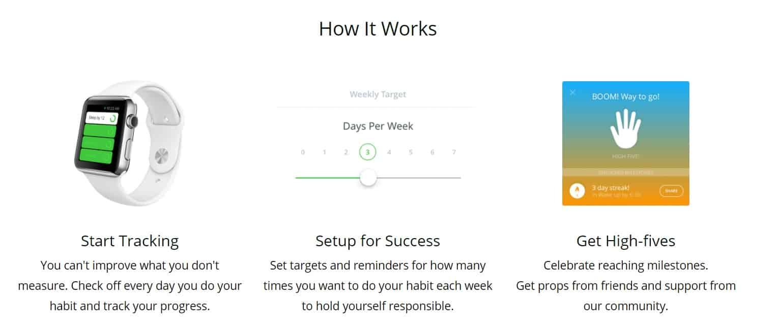 screenshot of coach.me app to stop spending money habit tracker