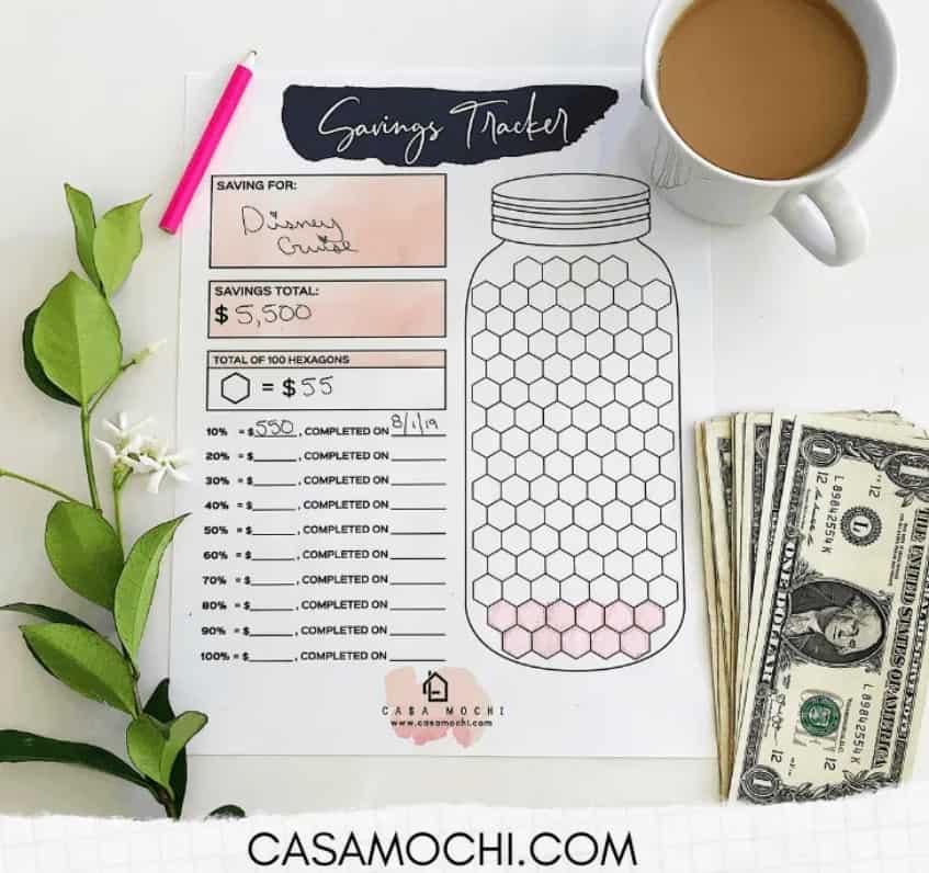screenshot of mason jar savings tracker with honeycombs inside