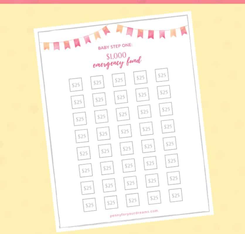 screenshot of pink and yellow $1000 emergency fund savings tracker