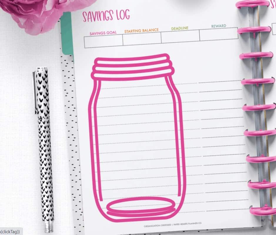 screenshot of blank savings log printable - mason jar in pink and blank lines on page