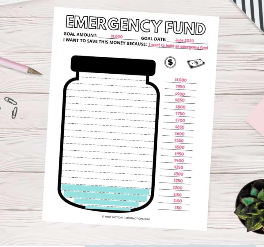 screenshot of mason jar blank emergency fund tracker