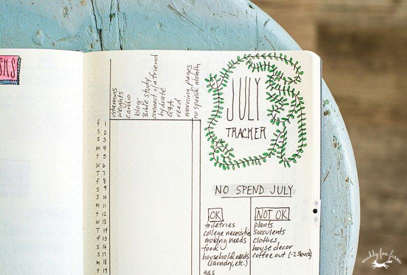 screenshot of muddyfoxfarm's no spend bullet journal spread