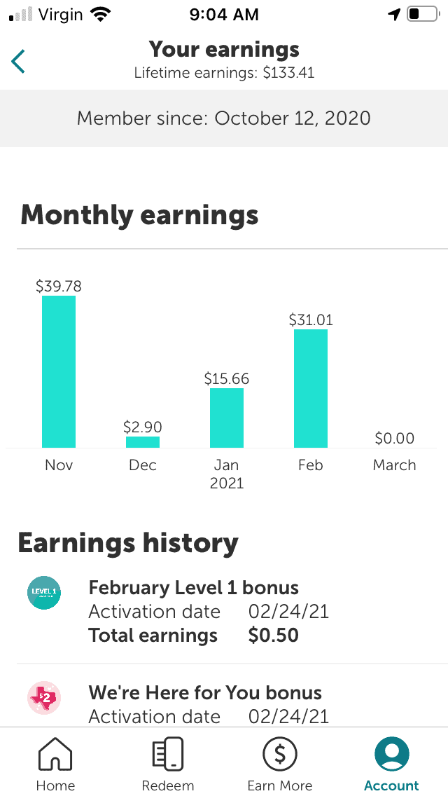 screenshot of $133.41 earnings from ibotta app from October to end of February