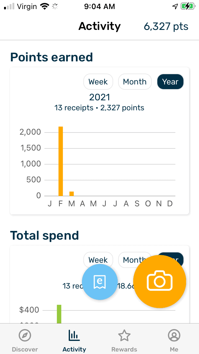 screenshot of Fetch app that shows 6,327 points from 13 receipts