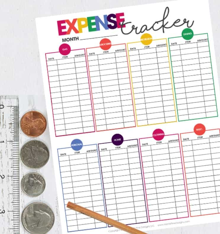 expense tracker with different colorful boxes for each category of spending