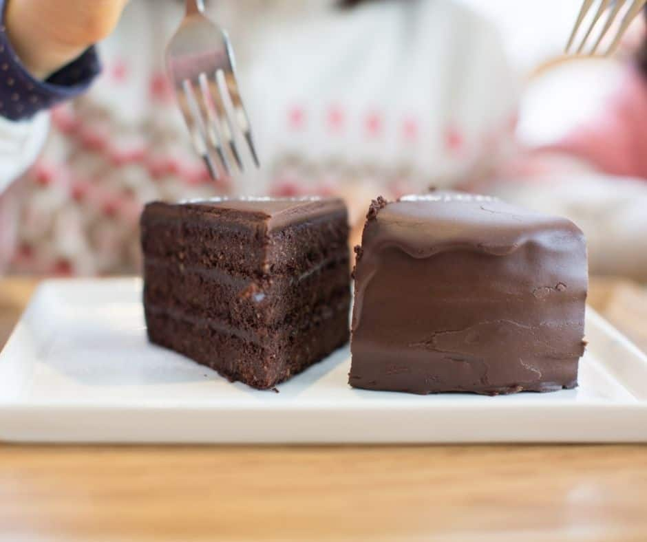two forks and piece of chocolate cake, mother daughter sharing together