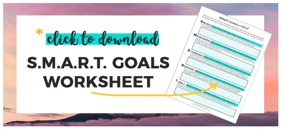 smart goal financial worksheet with an area to fill in for each S.M.A.R.T. section