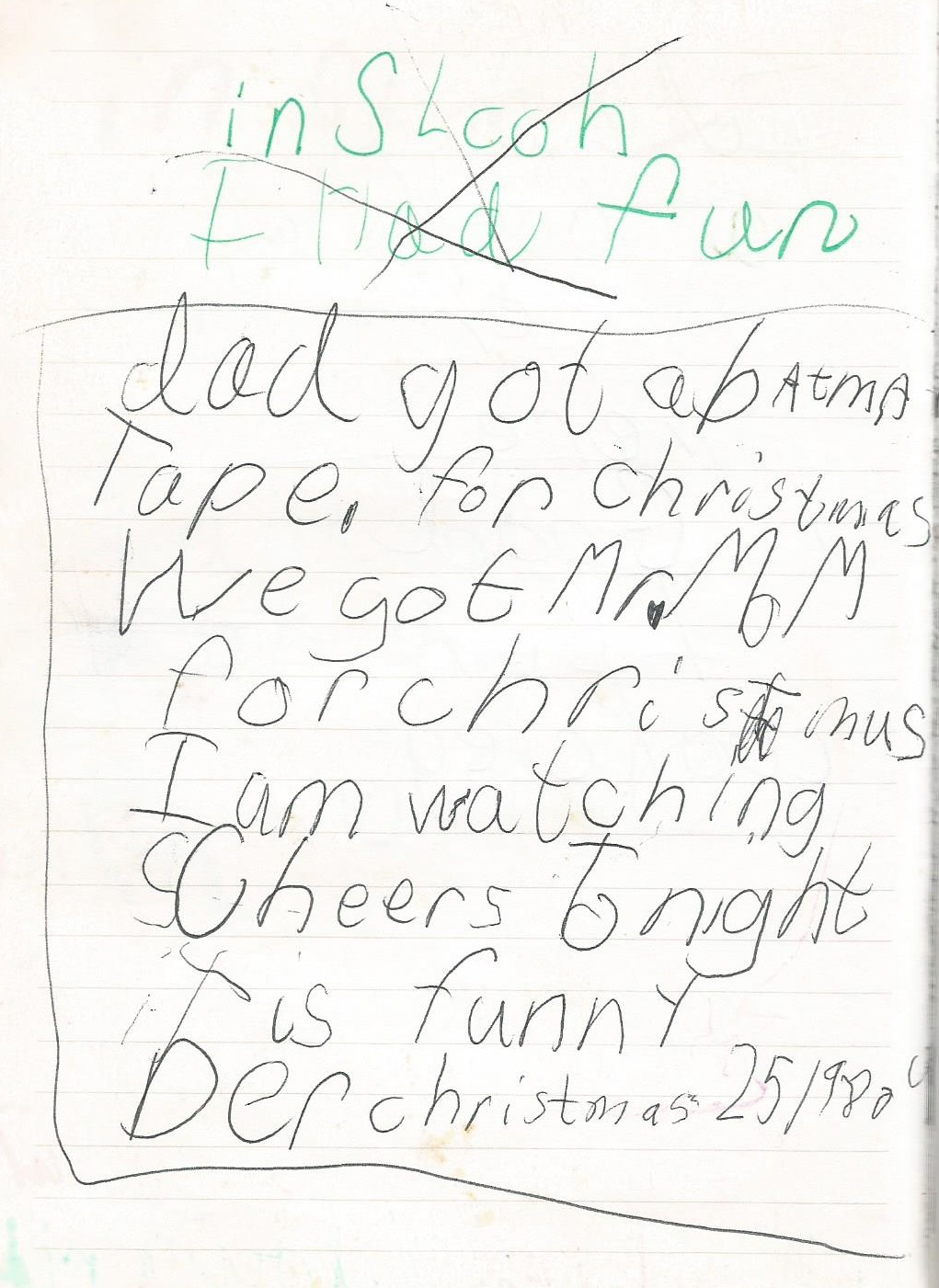 journal entry in author's diary from December 25, 1989 saying what her family got for Christmas