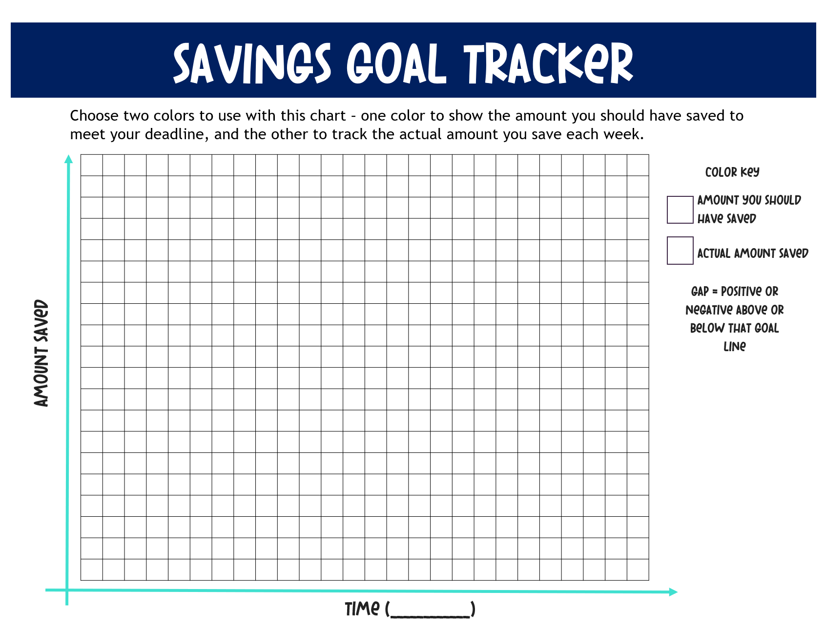 Navy blue and light blue, and white savings goal tracker chart with y-axis amount saved and x-axis time