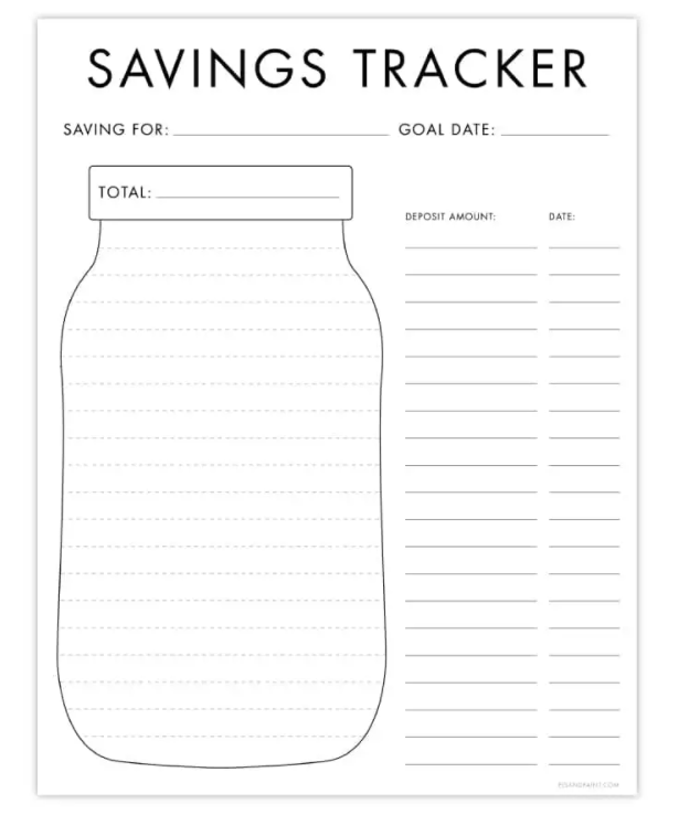 blank mason jar with lines in it, columns and rows for deposit amount and date on the right hand side