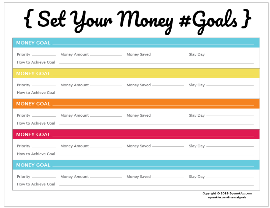 colorful SMART money goals worksheet with blue, yellow, and orange