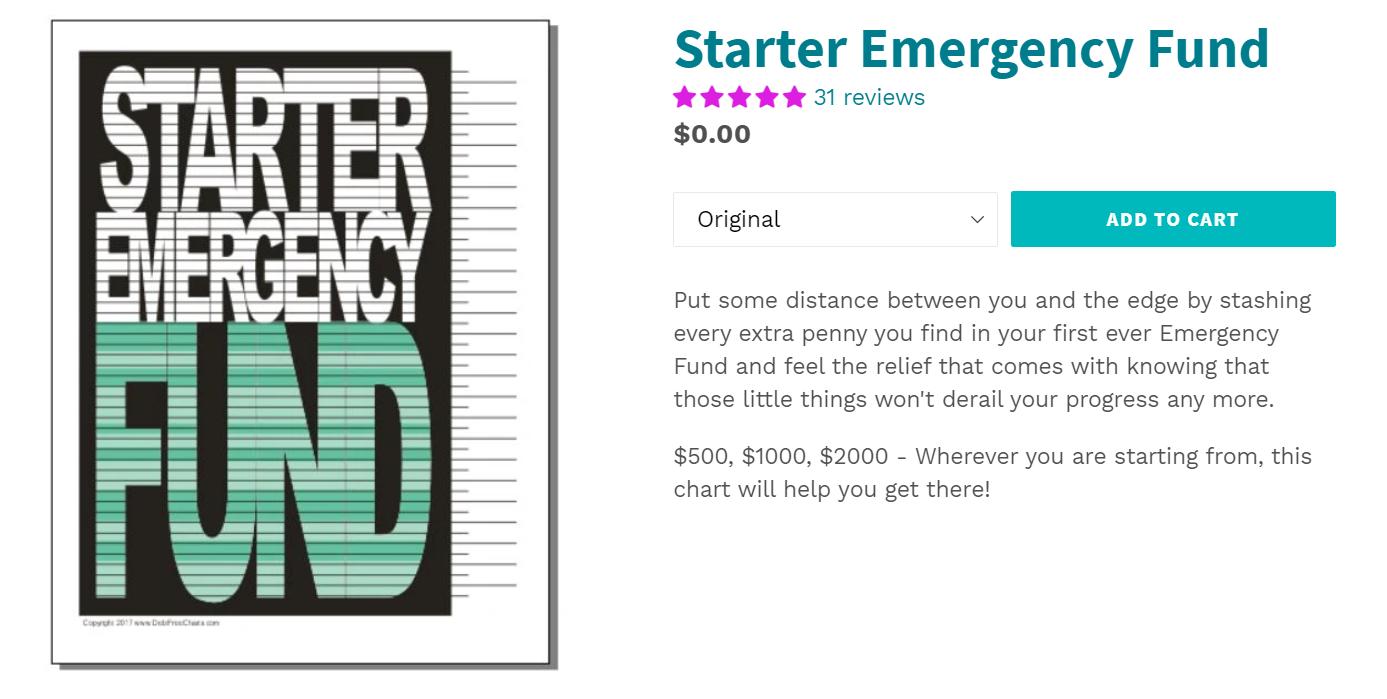 emergency fund free money goal tracker on black background